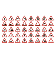 set warning road signs vector image vector image