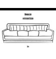 sofa with a large striped pillow in the contour on vector image vector image