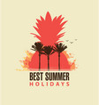 travel summer banner with palm trees and pineapple vector image vector image