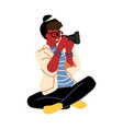 woman taking pictures cartoon professional vector image