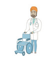 young indian doctor pushing wheelchair vector image vector image