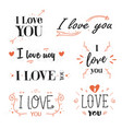 romantic valentines day quote phrase i love you vector image