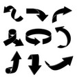 arrows black silhouette signs vector image vector image