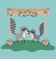 baby shower card with cute raccoons couple vector image vector image