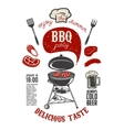 BBQ party vintage flyer template Grill with vector image vector image