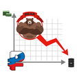 Bear and graph of fall of Russian ruble Fall of vector image vector image