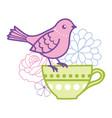 bird on a teacup vector image