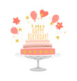 birthday greeting card with cake and balloons vector image vector image