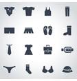 black clothes icon set vector image
