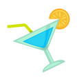 blue colored cocktail with orange vector image vector image
