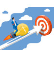 Businessman on flying rocket light bulb on chart