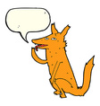 cartoon fox licking paw with speech bubble vector image vector image