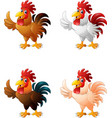 cartoon funny rooster giving thumb up collection s vector image