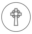 celtic cross icon outline black color in circle vector image vector image