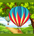cgroup of children riding hot air balloon vector image