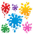 colorful ink blots collection 1 vector image