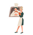 cook and waiter with menu restaurant staff vector image