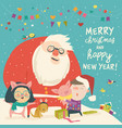 cute kids in pig costume with happy santa claus vector image vector image