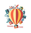 digital yellow travel icons vector image vector image