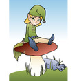 elf on mushroom vector image vector image