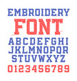 embroidery font vector image vector image