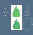 fir toy set with ball garland snowflake star vector image vector image