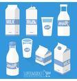 Flat design milk icons vector image vector image