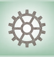 gear sign brown flax icon on green vector image vector image