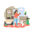 happy woman celebrating holiday with her pet dog vector image