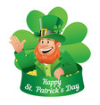 leprechaun greetings on saint patricks day vector image vector image