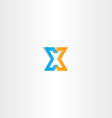 letter x orange blue icon sign vector image vector image