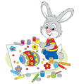 Little Bunny draws an Easter card vector image vector image