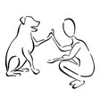 man and dog as friends vector image vector image