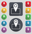 Map pointer icon sign A set of 12 colored buttons vector image vector image