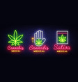 marijuana medical collection neon sign and logo vector image vector image