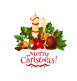 merry christmas candle wreath greeting icon vector image vector image