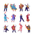 mexican people in colorful traditional clothes set vector image
