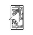 mobile phone with arrow navigation map city vector image vector image