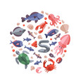 ocean animals seafood and cooking fish flat icons vector image vector image