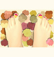 pedicure with flowers vector image