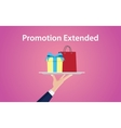 promotion extended with hand give a vector image vector image