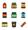 protein icons set flat style vector image vector image