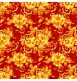 Red textile seamless pattern with golden flowers vector image vector image