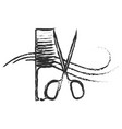 scissors and comb abstract vector image