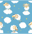 seamless pattern with cute funny sheep vector image vector image