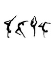 set of black silhouette gymnastic girls vector image