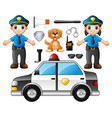 set of police officer with police professional equ vector image