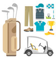 set of stylized golf icons hobby equipment vector image vector image