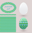 set with green easter eggs and design elements vector image vector image