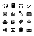 Silhouette Music sound and audio icons vector image